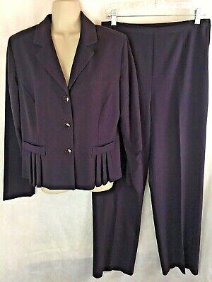 Danny & Nicole Dark Purple Pant Suit Size 10 Pleated Blazer Side Zipper Pants