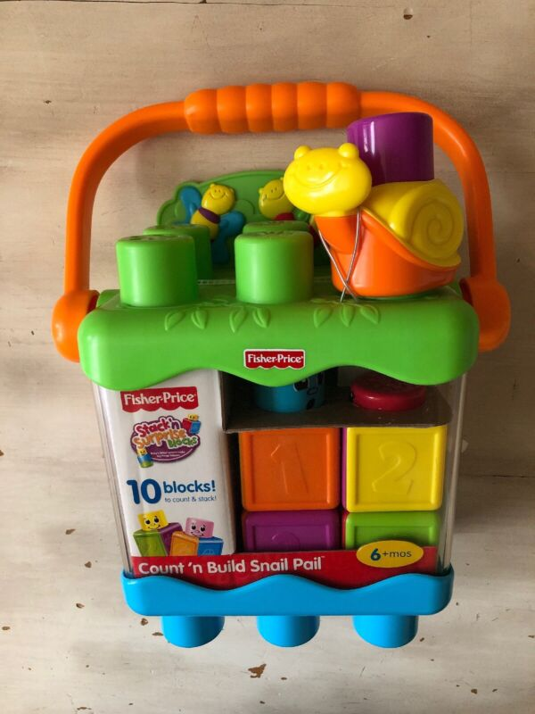 Count N Build Snail Pail Fisher Price Stack N Surprise Blocks 6 Months +
