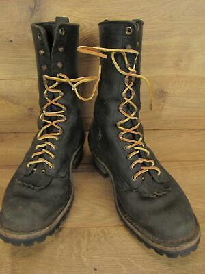 Vintage Hathorn Black Leather Logger Boots Size 7 EE