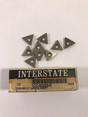 Interstate Carbide Inserts Tpgb-322 C-7 Icc-50323-e Qty 9