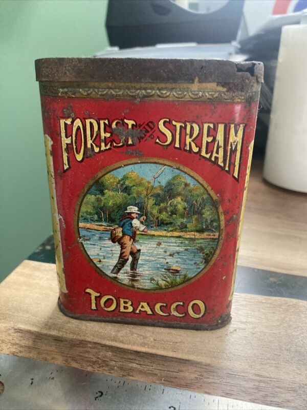 ANTIQUE 1915 RARE FOREST AND STREAM FLY FISHING FISHERMAN TOBACCO TIN