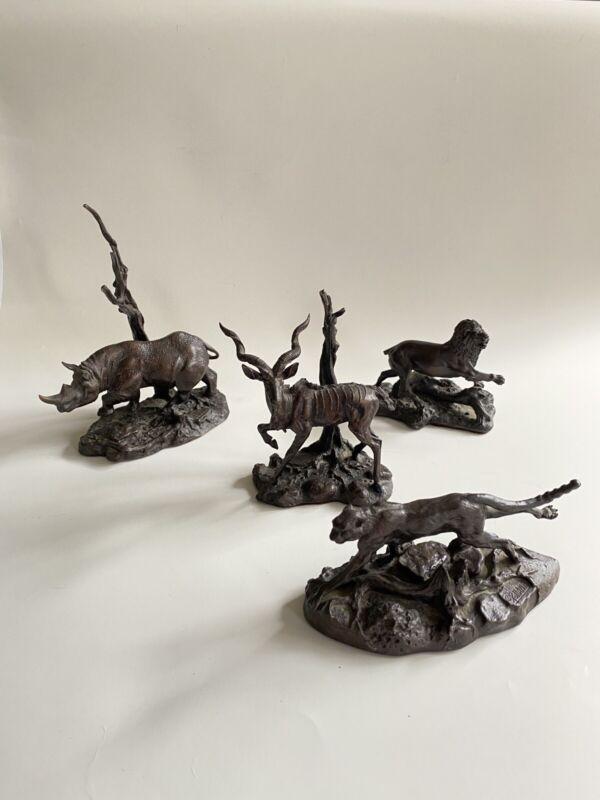 Franklin Mint Bronzes African Wildlife Figurines Rhinoceros Lion Cheetah Kudu
