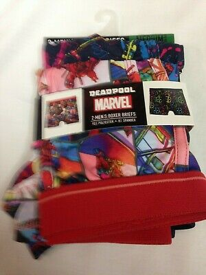 NWT Marvel DEADPOOL Mens BOXER BRIEFS 2 Pair M 32/34 ULTRA SOFT