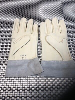 Vintage Mens Napa Leather Work Gloves Size 9 With Suede Cuff Medium