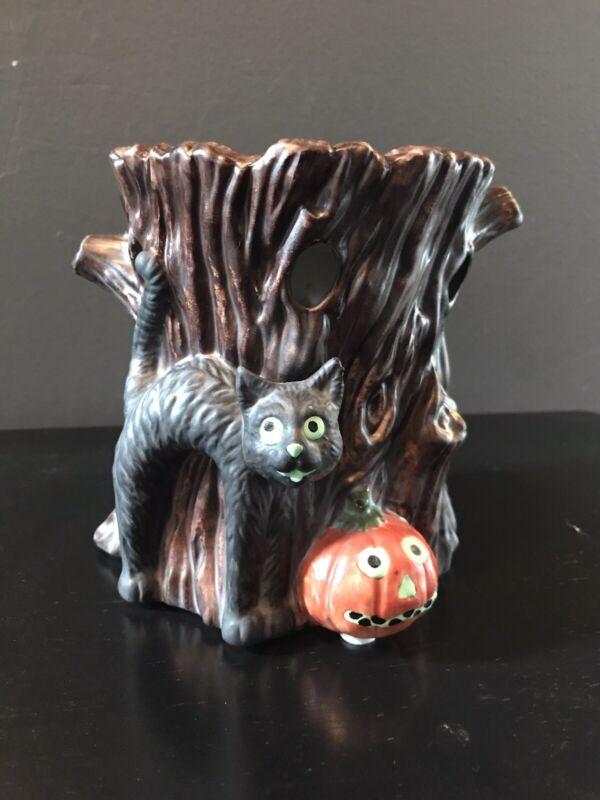 Yankee Candle Tart Burner Warmer Pumpkin Halloween Spooky Black Cat Wood Trunk