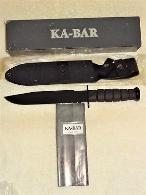 ~NEW~ KA-BAR 1271 Black Fighter Knife w/Sheath, Box, Never Sharpened, OLean NY