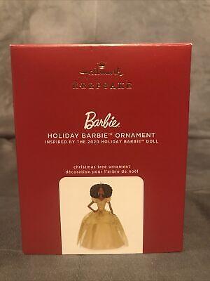 Hallmark 2020 Holiday Barbie Gold Dress #6 AfrIcan American Keepsake Ornament