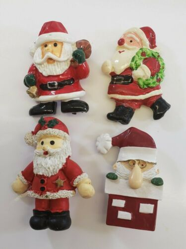 Vintage Christmas  Brooch Lot magnet Ceramic Santa Claus Clause Sheriff Cop