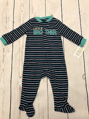 Just One You Carter's Boy's Little Brother Striped Sleeper Blue size 9M New