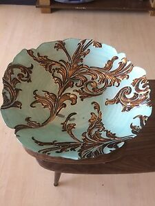 Aqua and Gold Glass Decorative dish