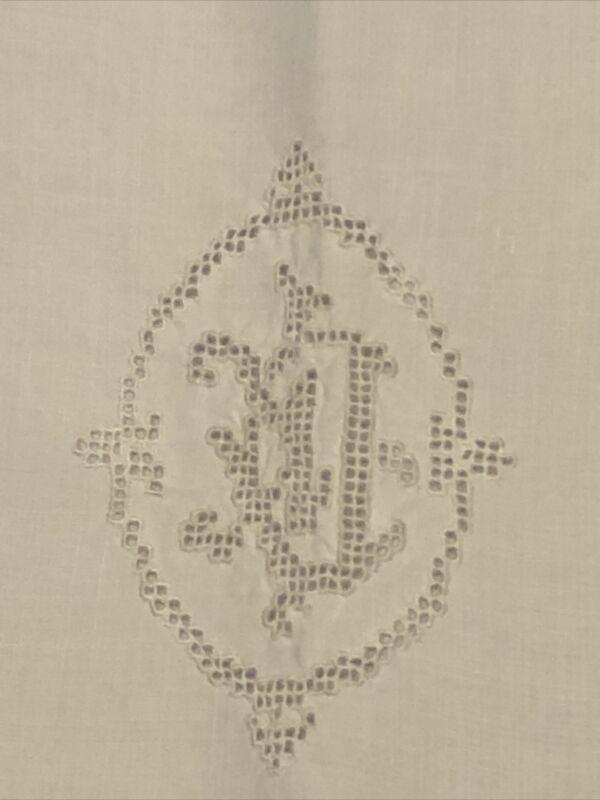 Antique Vintage White Linen & Lace Cutwork Monogram European Pillow Sham