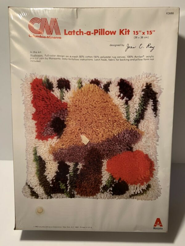 Mushroom Latch-a-Pillow Kit Columbia Minerva - Hook Rug -NIB -Vintage Retro 1980