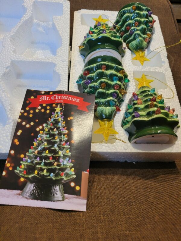 """3 Ceramic Light Up Multi Color Musical Christmas Tree 8.5"""" Tall Battery Operated"""
