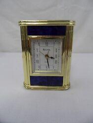 BULOVA Desk Clock Blue with Gold Columns