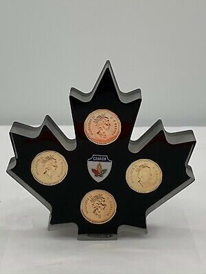 Canadian Canada Maple Leaf Desk Decor With Coins Clearmount Plastics Paperweight
