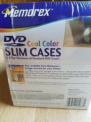 21 Memorex Slim Cool Color Dvd Disc Cases Red Blue Purple Green Orange Open Box