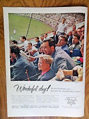 1956 Burlington Industries Ad Wonderful Day Baseball Father Son at Ballpark