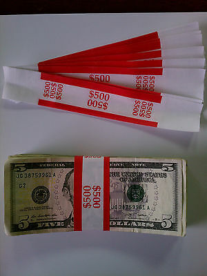 50 - New Self-sealing Currency Bands - 500 Denomination Straps Money Fives