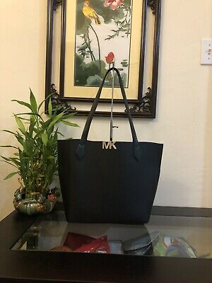 NWT MICHAEL KORS MONTGOMERY LEATHER LARGE BONDED TOTE Handbag Black $328