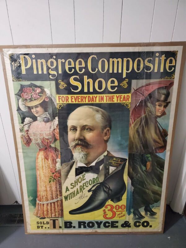 Antique 1800s Original Lithograph Pingree Shoes Sign Large Advertising Rare