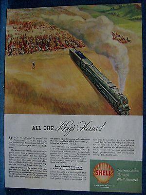 1946 Shell Oil Ad ~ Tug-of-War  Horses Pull Pennsylvania Railroad Locomotive In