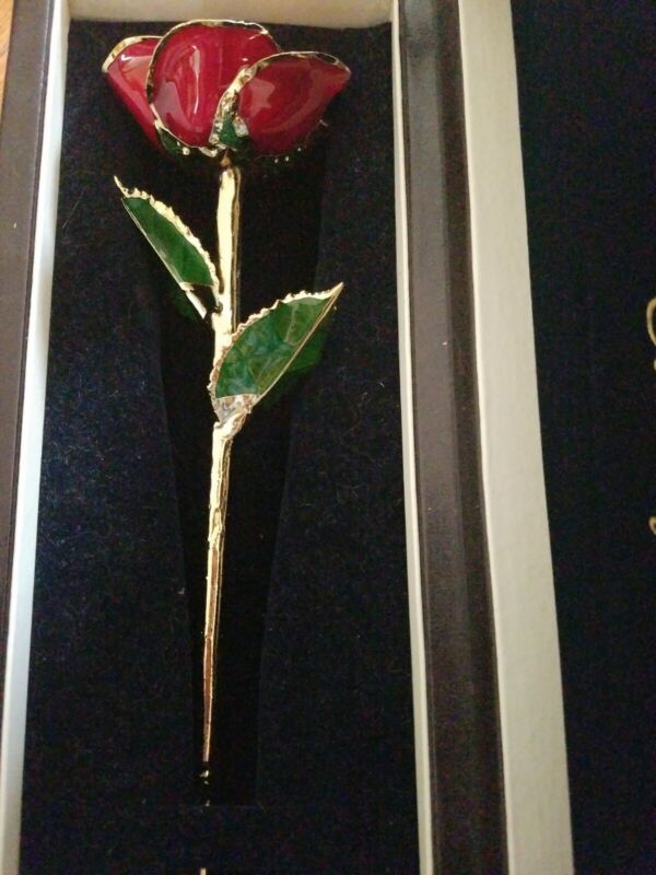 The Eternity Rose 24k Gold-Dipped red Glazed Rose with green leaf