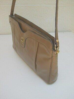 Etienne Aigner Vintage Classic Light Taupe Fine Leather Two-Comp. Shoulder Bag Classic Vintage Shoulder Bag