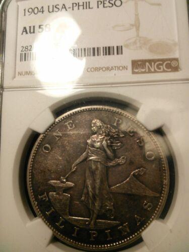 U.S Philippines 1904 Peso NGC AU 58