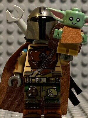Lego Star Wars custom Minifigure Mandalorian with baby yoda
