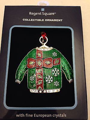 Christmas Holiday Ornament Made with Crystal Accents Ugly Sweater - GREEN
