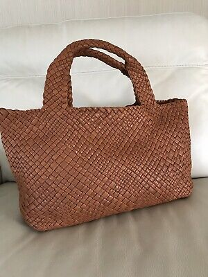 NWT-FALOR -ITALY~RUST  Sewn-in Pockets -Hand Woven Soft Leather Tote #7349T-XL