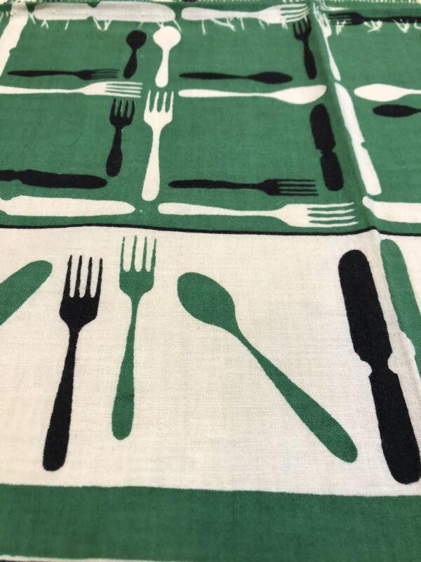 Vintage Startex SC Utensils Print Kitchen Towel As Is Kitschy 1950s 1940s