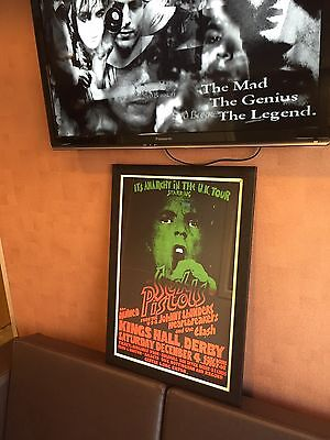 RARE FRAMED FOLDED SEX PISTOLS ANARCHY TOUR KINGS HALL DERBY 1976 GIG POSTER