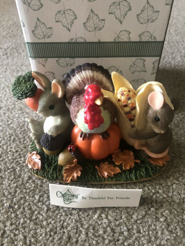 Charming Tails Be Thankful for Friends by Fitz and Floyd Signed by Dean Griff