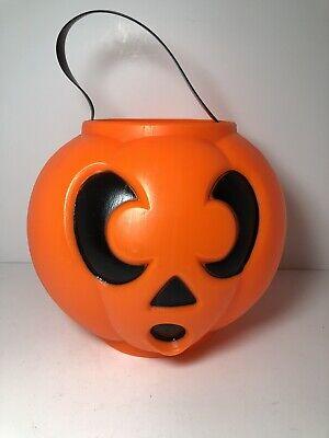 "Vintage Halloween Blow Mold Pumpkin 6"" Trick Or Treat Candy Pail Bucket"