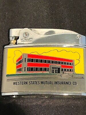 VINTAGE HOWARD FLAT ADVERTISING LIGHTER - WESTERN STATES MUTUAL INSURANCE CO.