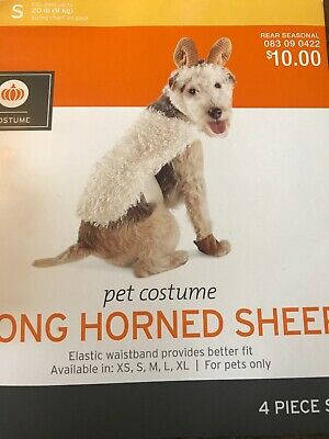 Long Horned Sheep Halloween Dog Pet 4-Piece Costume X-Small (New with Tags)