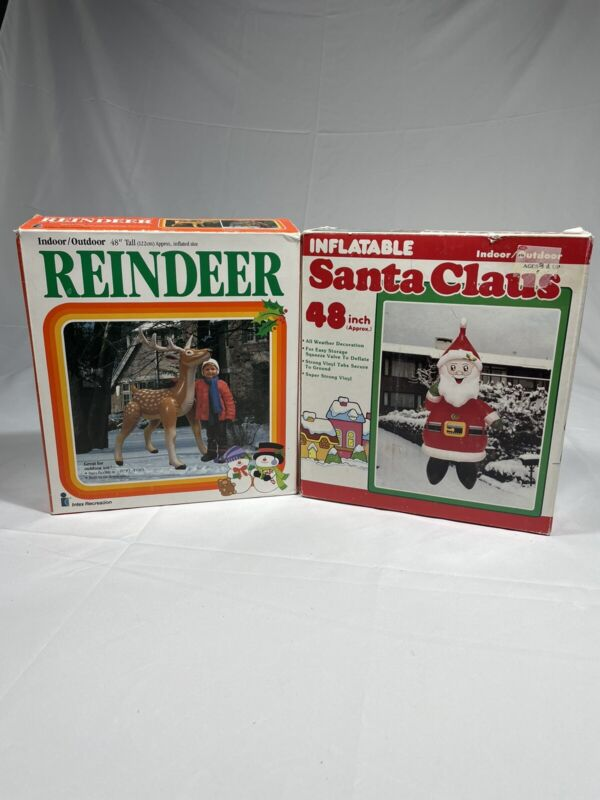 48 Inch Santa Clause Reindeer 48 Inch Inflatable Intex Recreation 2 Pack In box