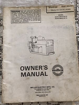 Miller Aead-200le 60 Hz Welder Owner Parts Manual Onan Gas Engine 1985