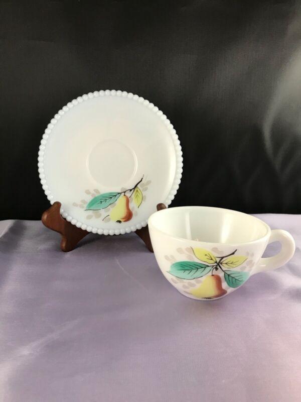 Westmoreland Milk Glass Beaded Edge CUP & SAUCER Peach Decoration