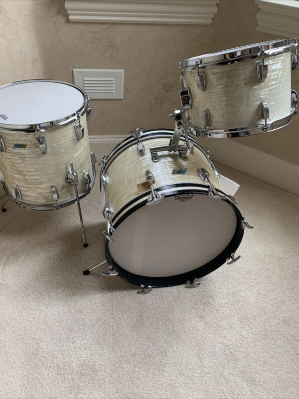 Vintage 1976 3 Ply Ludwig Jazzette Rail 18 14 12 Drum Kit - Clear Interior