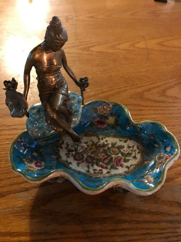 SERVES PORCELAIN - Blue Floral Ring / Candy Dish W/Gilt Bronze Ormolu Lady