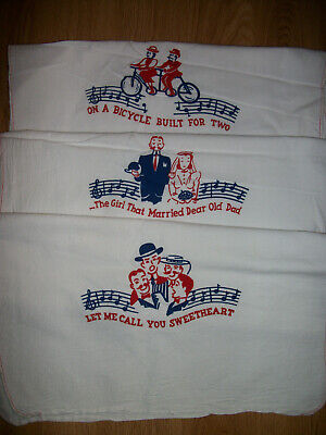 Vintage 1940's Excello Kitchen Towels (3) Songs