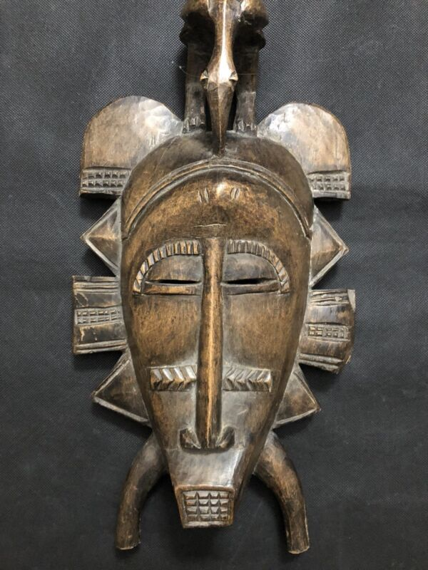 Antique Museum Quality African Kpelie Mask Senufo Tribe Ivory Coast