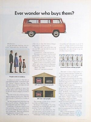 "Vintage 1970 Volkswagen Station Wagon Van Print Ad Art Poster ""Who Buys Them"""