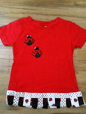 Rabbit Skins Baby Clothes - Baby Girls 18 Month Top Clothes RABBIT SKINS Red Ladybugs Spring Summer