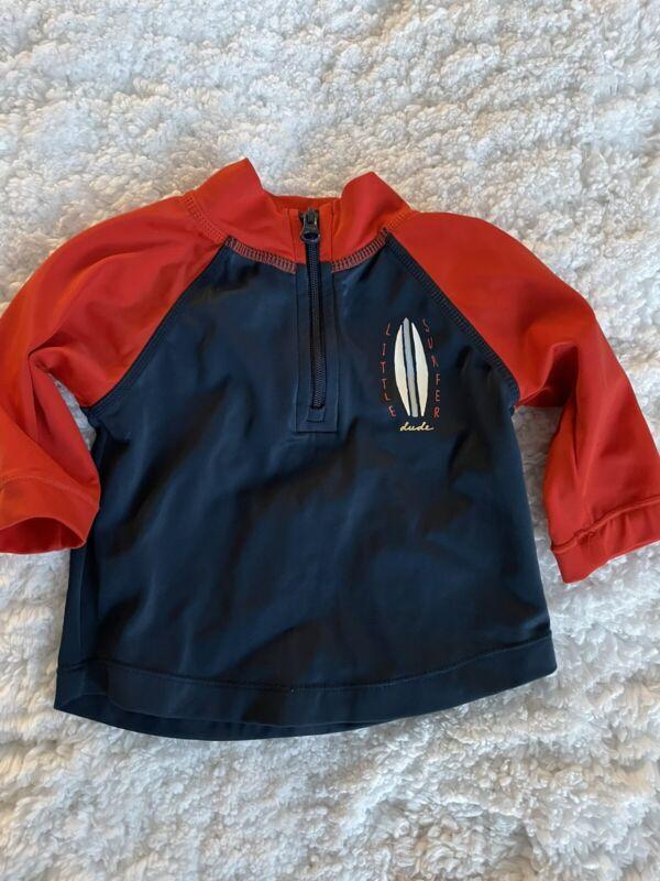 Baby Gap boys sz. 0-3 month blue & red zipper front rashguard. Adorable