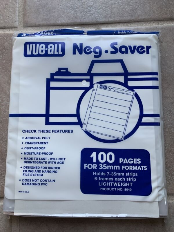 Vue-All Neg Saver Museum Quality Negative Film Archival 100 Pages 35mm 8040 NEW