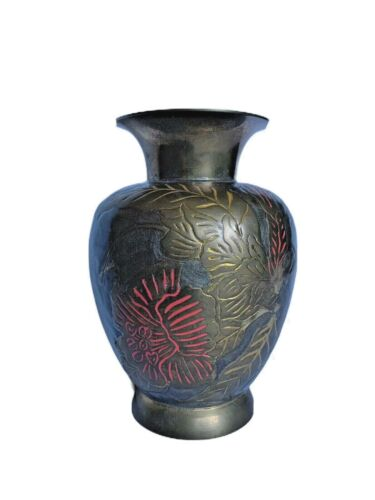 """Vintage W.M. Rogers & Son Solid Brass Hand Engraved Vase Made In India 7.5"""" Tall"""