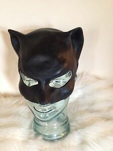 ADULT CAT WOMAN SUPERHERO LATEX RUBBER MASK HALLOWEEN FANCY DRESS ACCESSORY